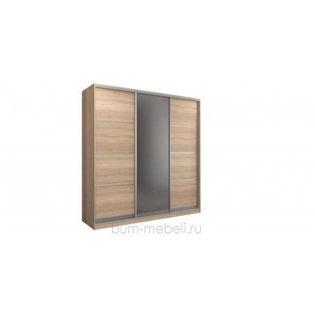 Шкаф-купе трехдверный 240 см (сонома+зеркало)