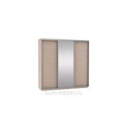 Шкаф-купе трехдверный 240 см (дуб молочный+зеркало)