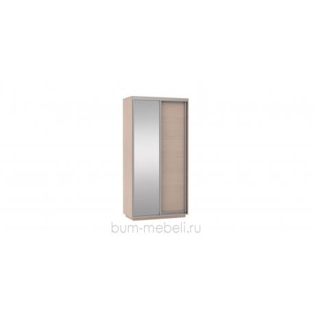 Шкаф-купе двухдверный 120 см (дуб молочный+зеркало)