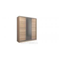 Шкаф-купе трехдверный 210 см (сонома+зеркало)