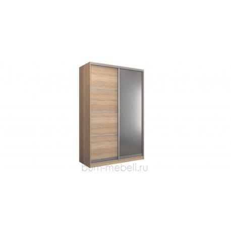 Шкаф-купе двухдверный 160 см (сонома+зеркало)