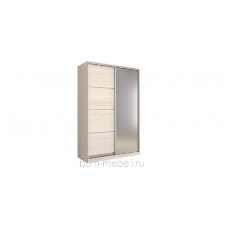 Шкаф-купе двухдверный 160 см (шамони светлый+зеркало)